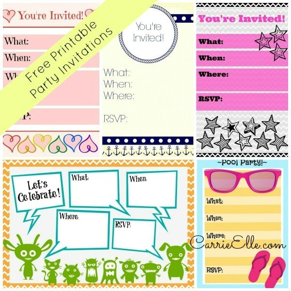 graphic regarding Printable Party Invitations identify Totally free Printable Social gathering Invites - Carrie Elle