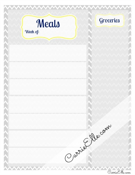 free meal planning printable no dates