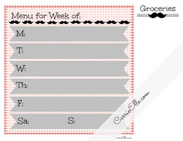 free meal planning printable mustache