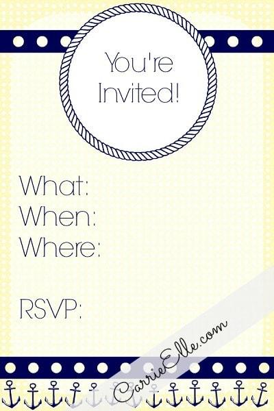 Free Printable Nautical Party Invitation Yellow Navy