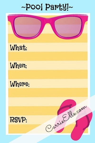 Free Printable Pool Party Invite Blue Pink