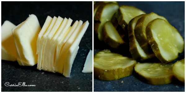 Butter slices and pickle slices