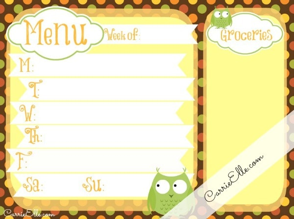 owl meal planning printable for fall