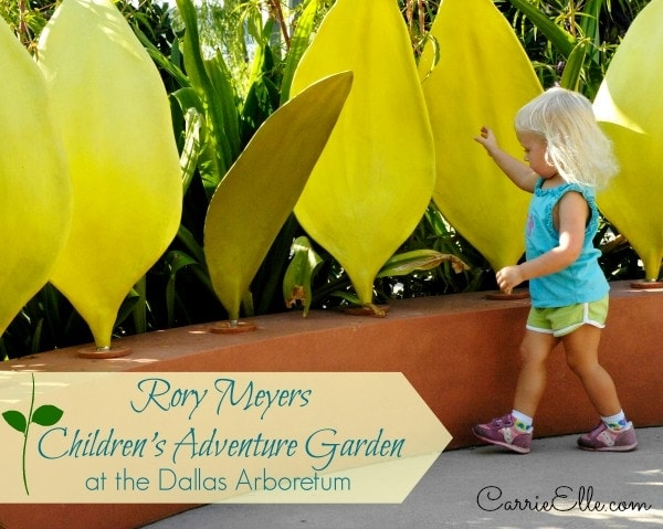 toddler playing with giant leaves at the rory meyers children's adventure garden
