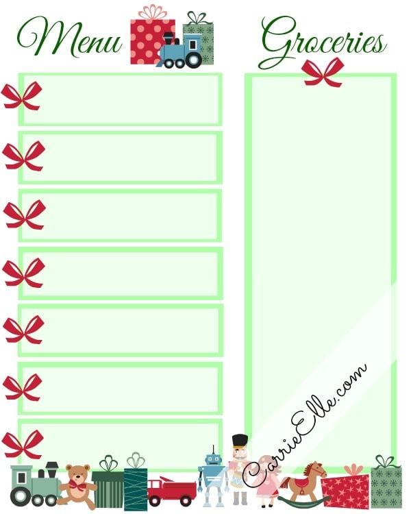 Free Christmas Meal Planning Printable