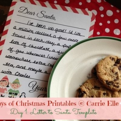 12 Days of Christmas Printables! Day 1: Printable Letter to Santa Template
