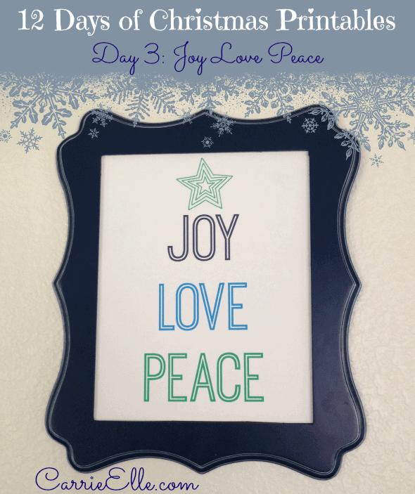 Free Christmas Printables Joy Love Peace