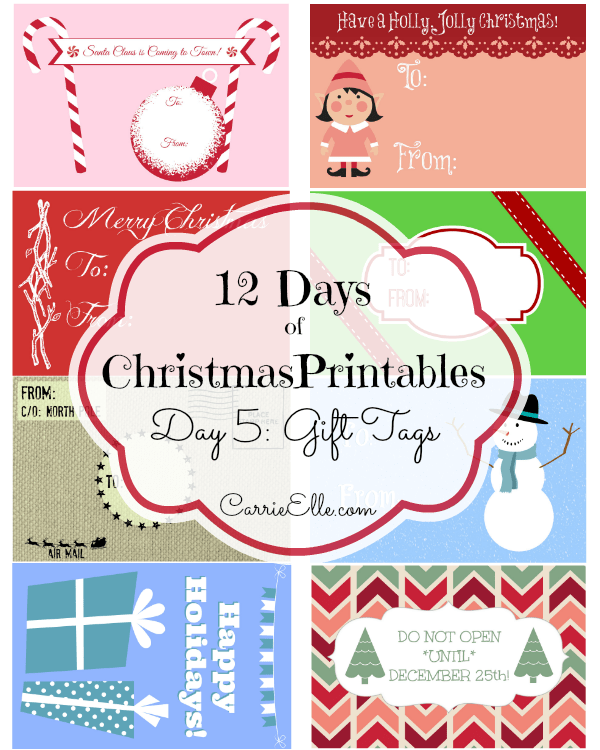 12 days of christmas printables day 5 free printable gift tags carrie elle. Black Bedroom Furniture Sets. Home Design Ideas