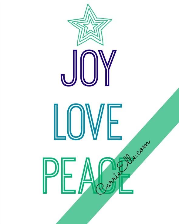 Free Joy Love Peace Printable