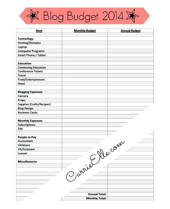 Printable Blog Budget Template