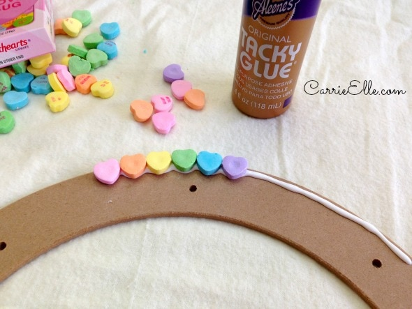 Candy Heart Wreath Step 1