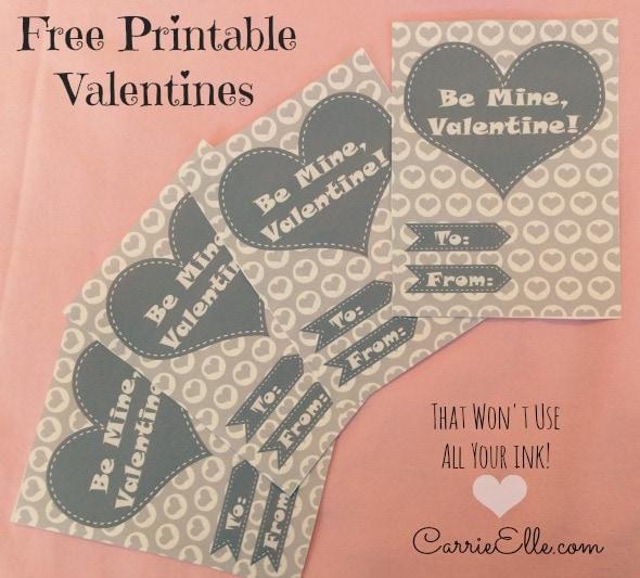 Free Printable Valentines No Pink