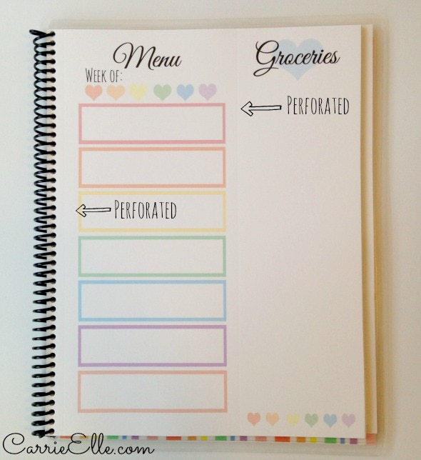 Meal Planning Pages in Rainbow Hearts Book