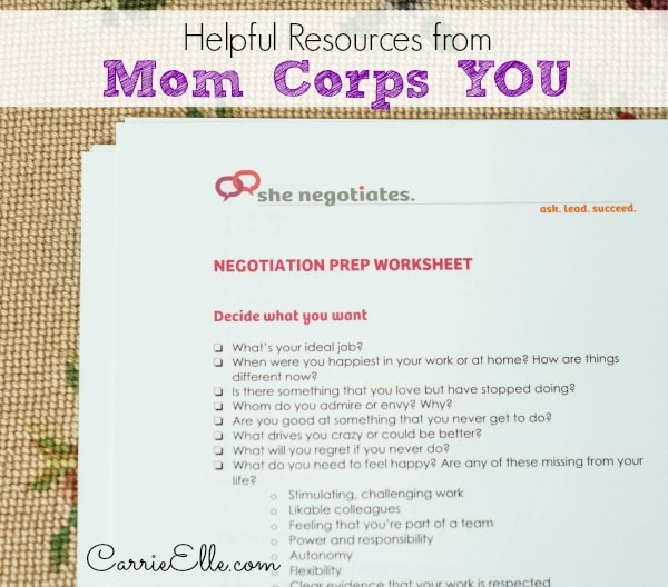 Mom Corps YOU Resources