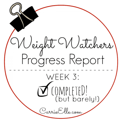 Weight Watchers Update: Week 3