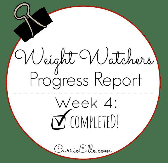 Weight Watchers Progress Report Week 4