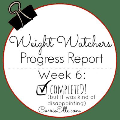 Weight Watchers Update: Week 6