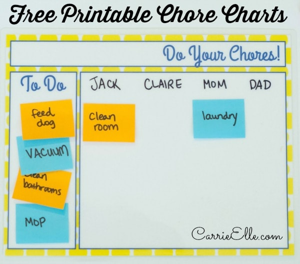 Easy-to-Use Printable Chore Chart - Carrie Elle