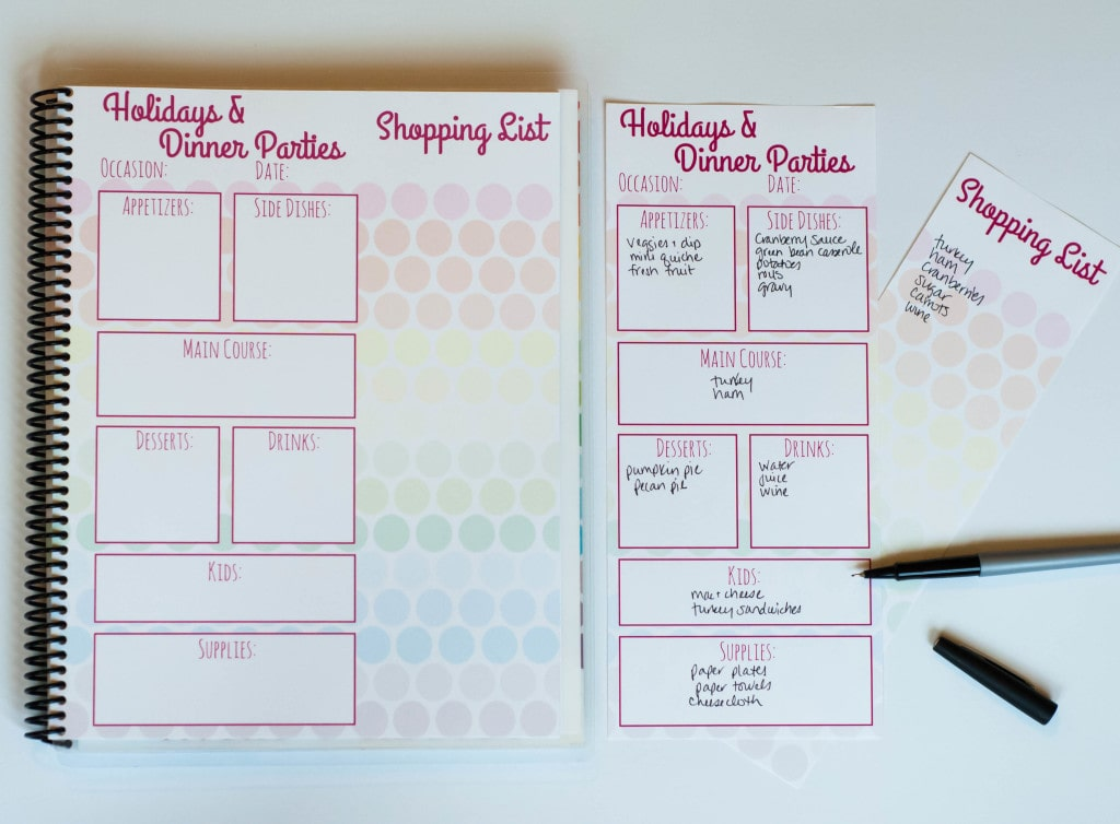 Holiday Meal Planning Page