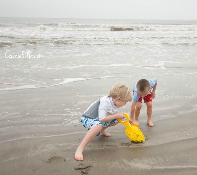 Digging at beach