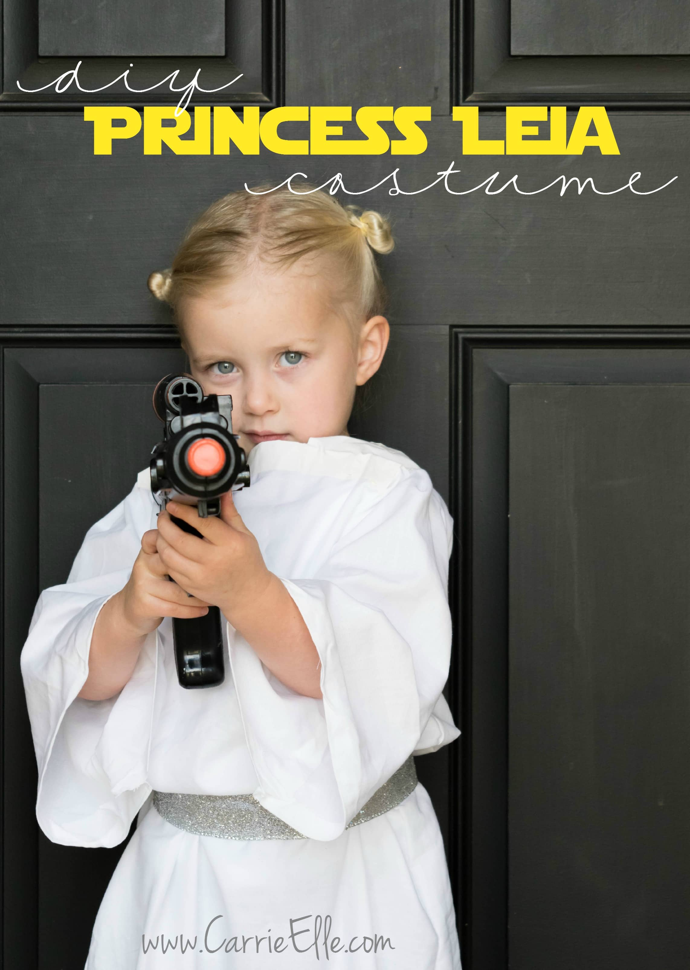 These no-sew Leia costume instructions from Carrie Elle are exactly what you need if you have a white bedsheet on hand and an eager child interested in a Leia costume. Buns and a pretend blaster.