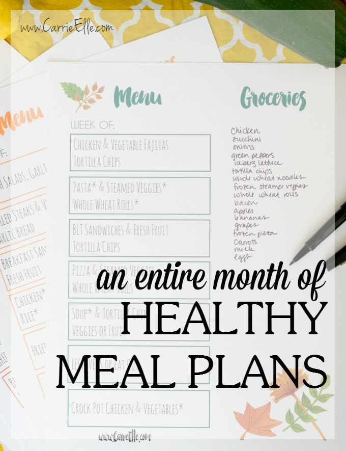 Month of Meal Plans Healthy