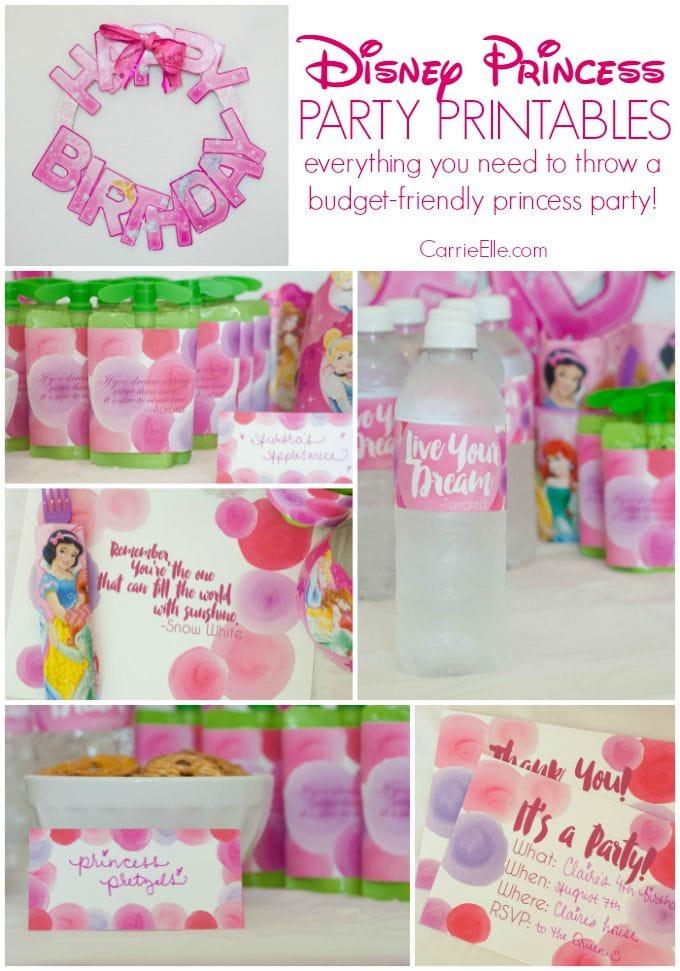 Disney princess birthday party printables