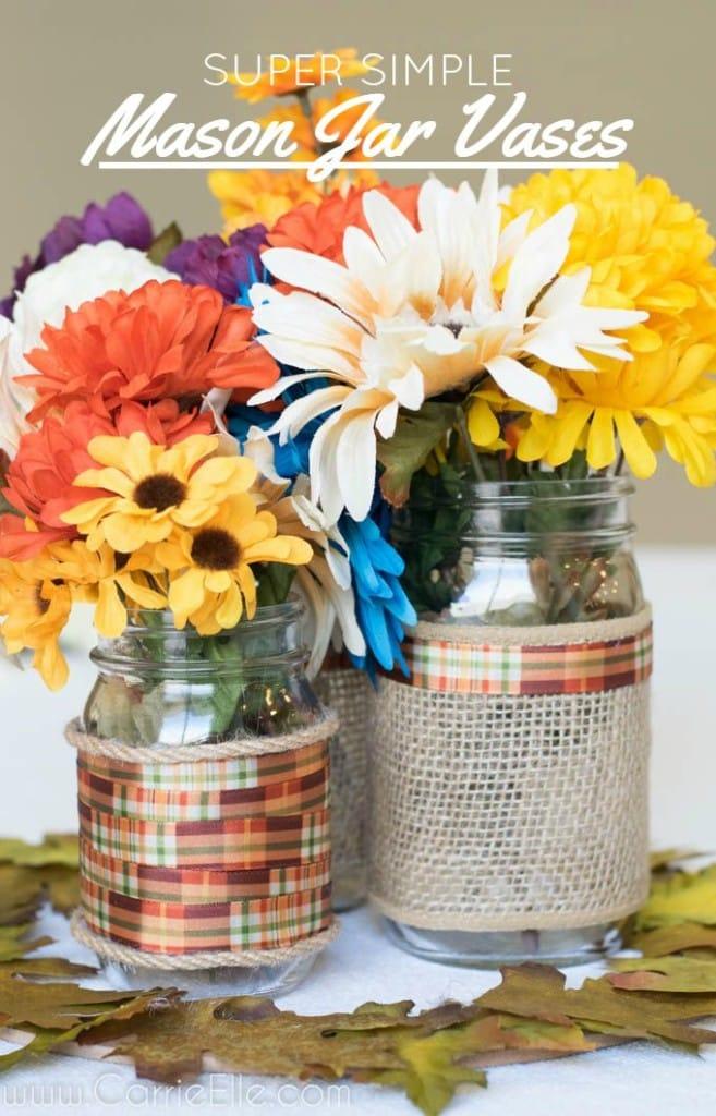 Simple Mason Jar Vases