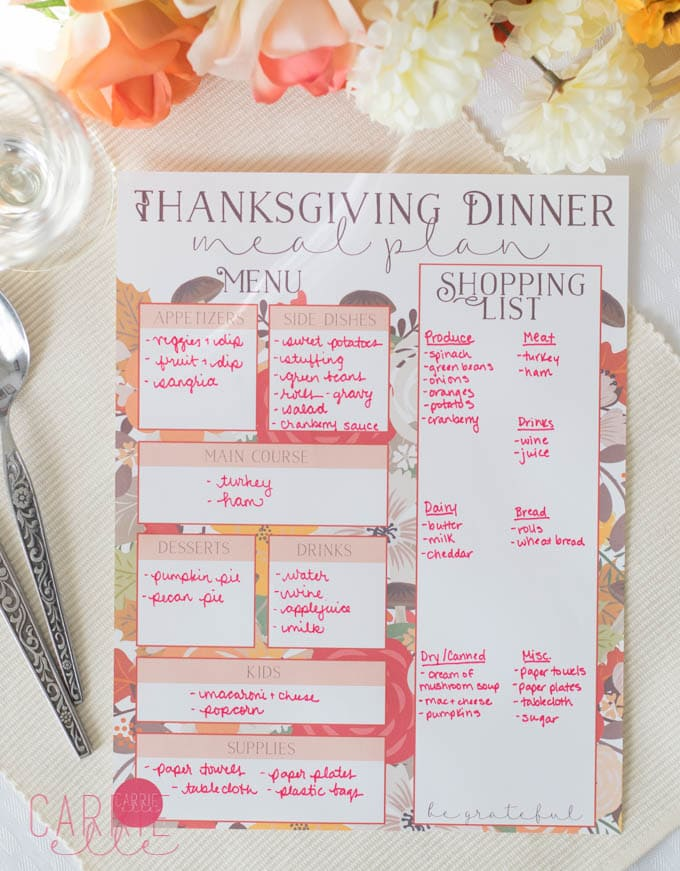 Thanksgiving Meal Planning Printable