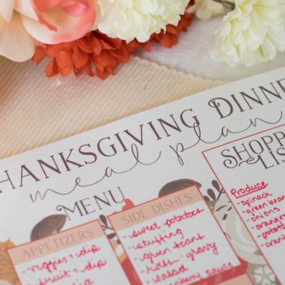 Thanksgiving Meal Planning Printables