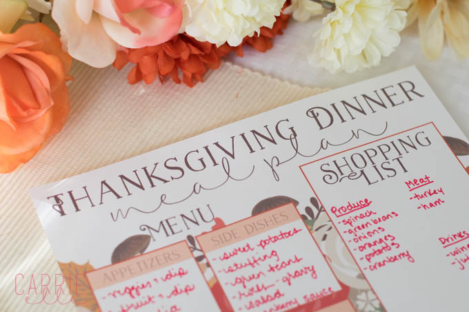 Thanksgiving Meal Planning Printables Carrie Elle