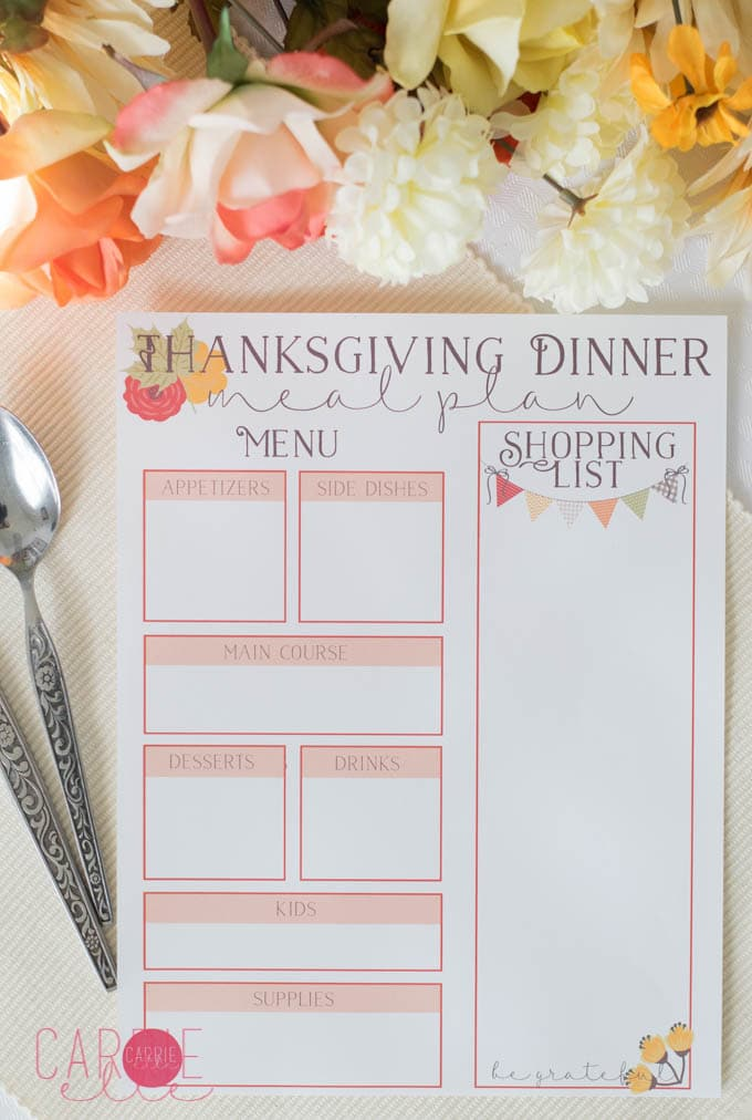 Free Thanksgiving Menu Planner Printable