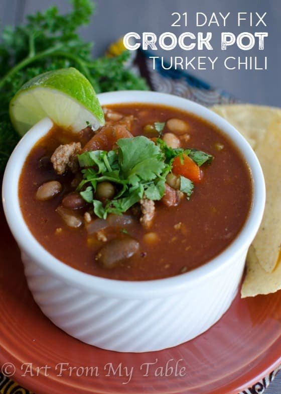 21 Day Fix Crock Pot Turkey Chili Recipe