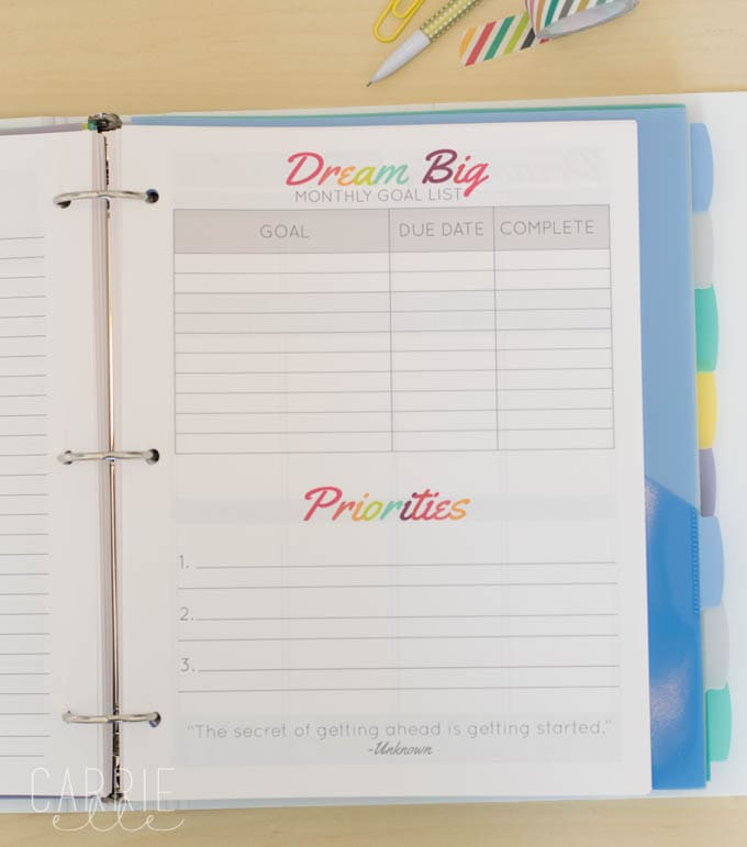 Monthly Goal Setting Template