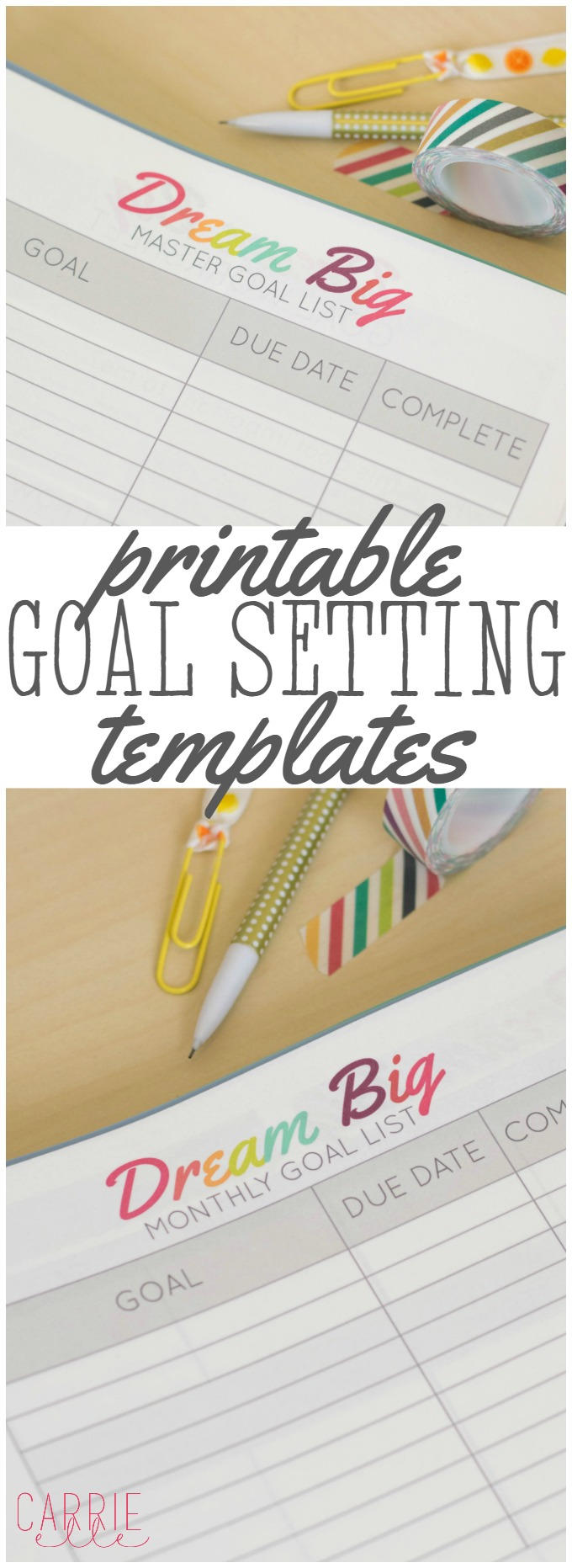 printable goal setting template carrie elle. Black Bedroom Furniture Sets. Home Design Ideas