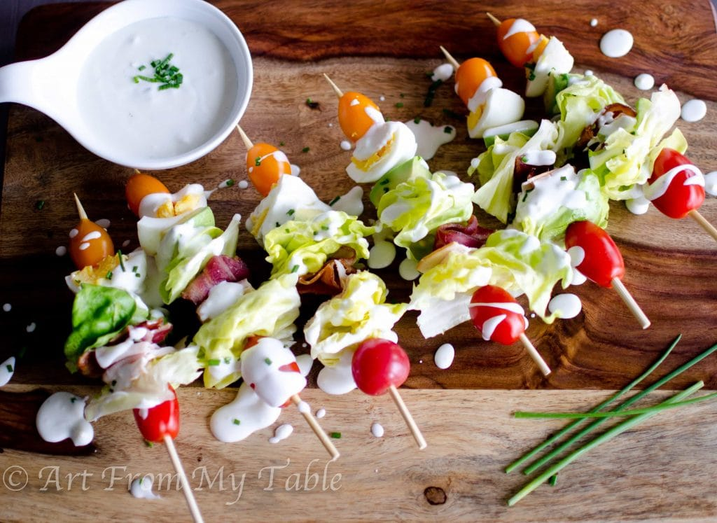 Cobb salad on a stick homemade dressing carrie elle for Easy salad ideas for bbq