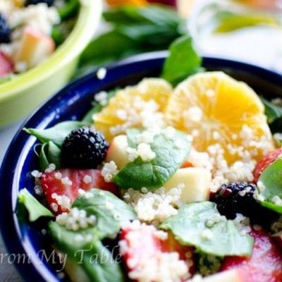 Quinoa Spinach Salad with Lemon Basil Vinaigrette