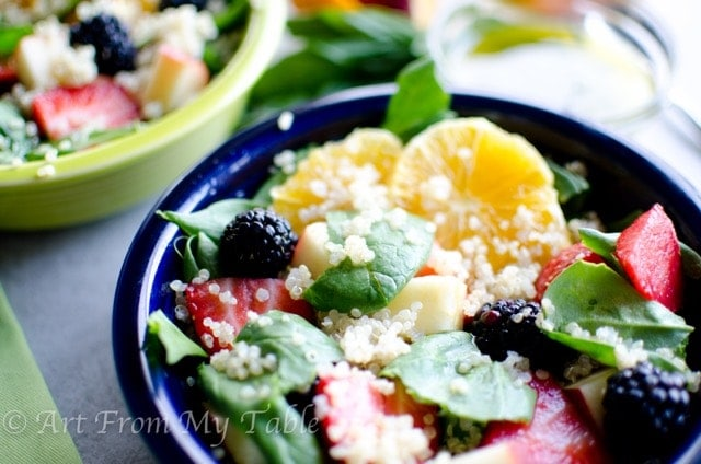Quinoa Spinach Salad with Lemon Basil Vinaigrette