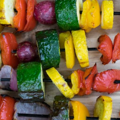 Rainbow Veggie Kabobs (with Weight Watchers Points)