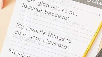 Teacher Appreciation Letter for Kids