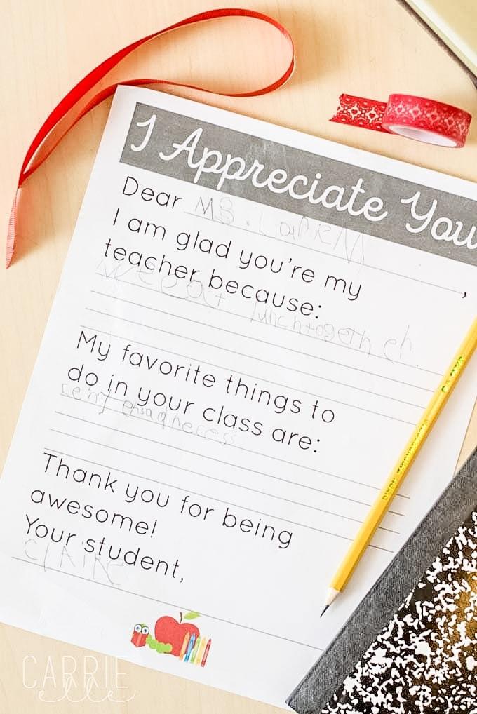Teacher Appreciation Letter for Kids