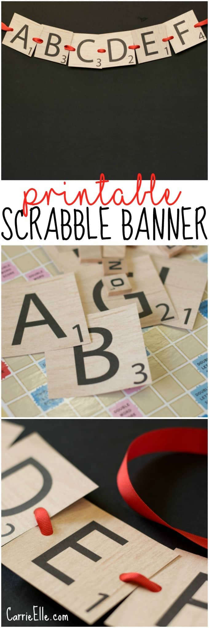 photo about Scrabble Letters Printable named Scrabble Letter Printable Banner - Carrie Elle