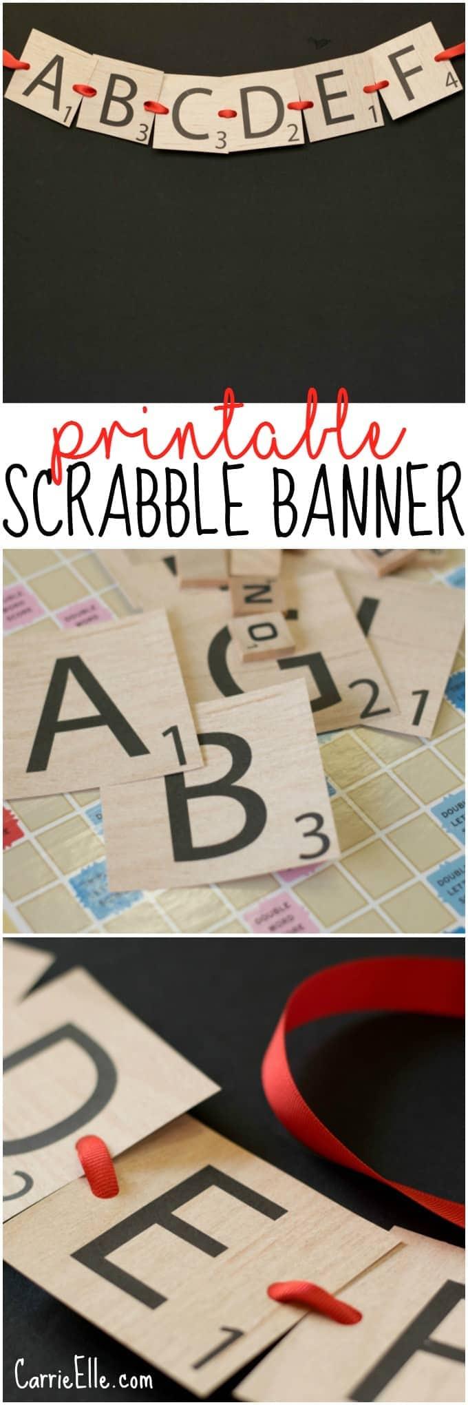 Scrabble Letter Printable Banner - Carrie Elle