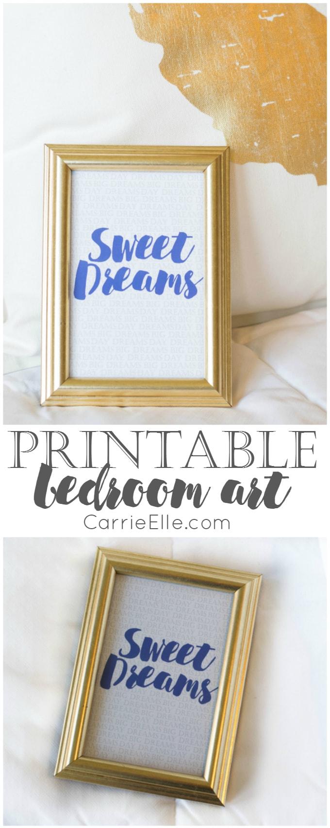 Sweet Dreams Printable Bedroom Art