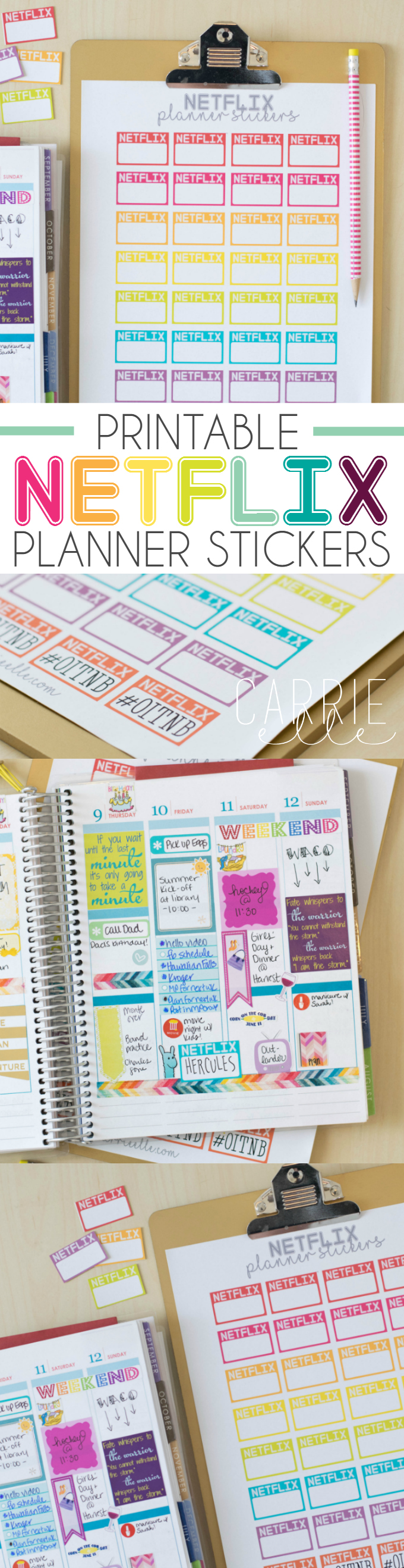 Printable Movie Night Planner Stickers - Carrie Elle