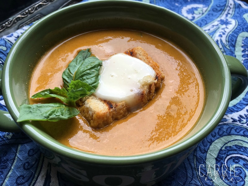 Roasted Yellow Tomato Soup with Grilled Cheese Croutons - Carrie Elle
