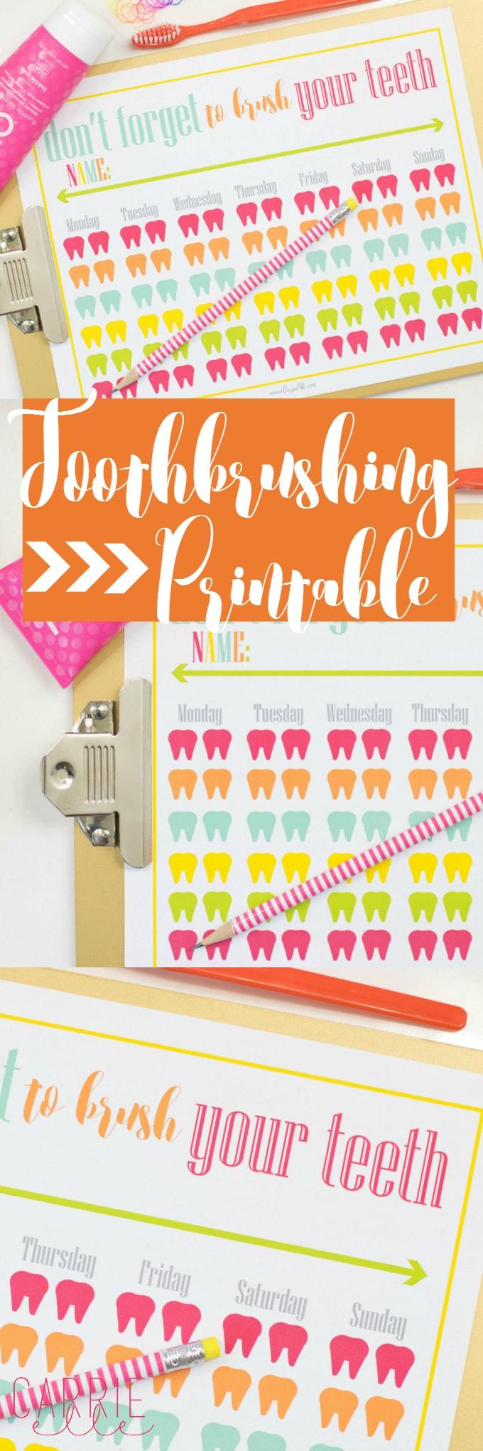 Toothbrushing Printable for Kids