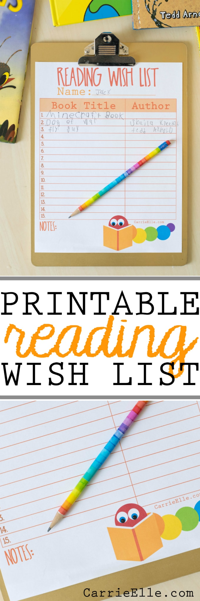 Printable Reading Wish List for Kids