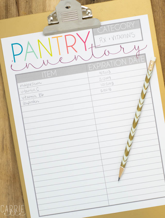 Printable Pantry Inventory