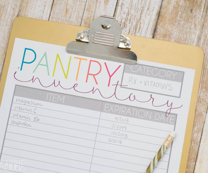Printable Pantry Inventory List Carrie Elle